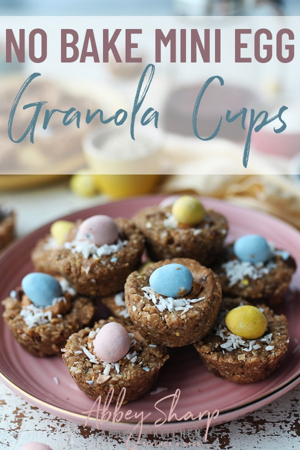 easter mini egg granola cups stacked on a pink plate