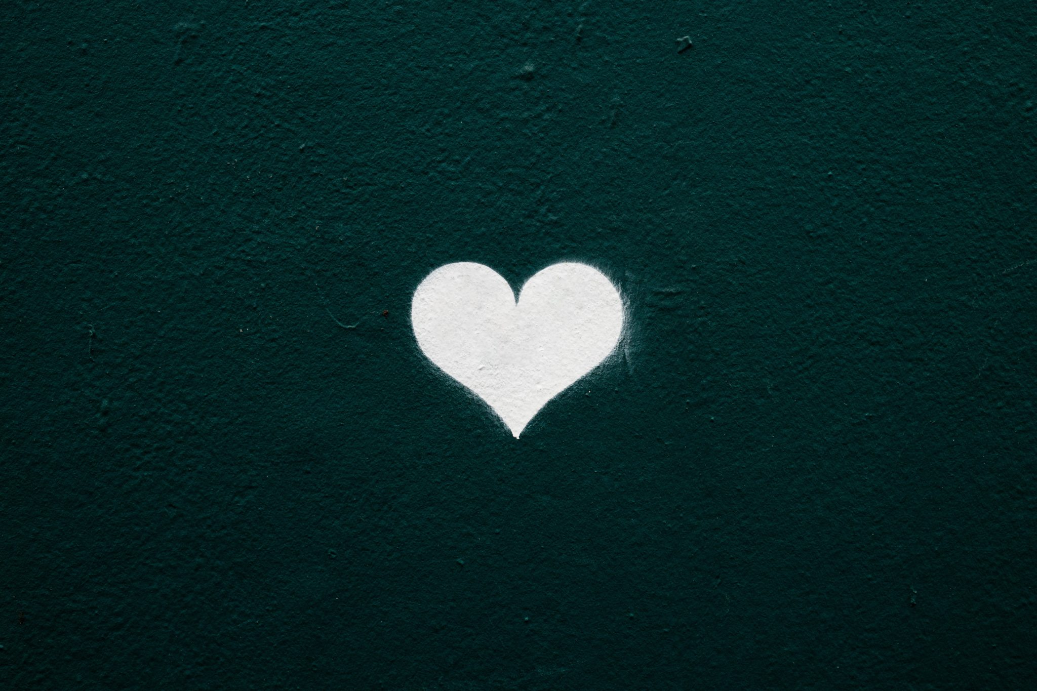 image of a white heart against a black background