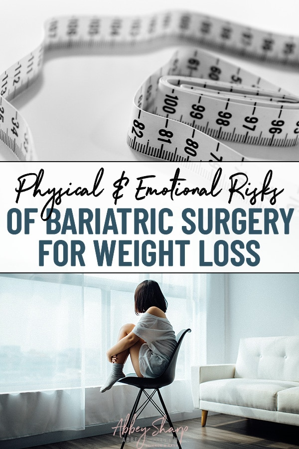 pinterest image of a measuring tape to measure weight loss at the top and a woman sitting on a chair looking out the window and feeling depressed below, with text overlay