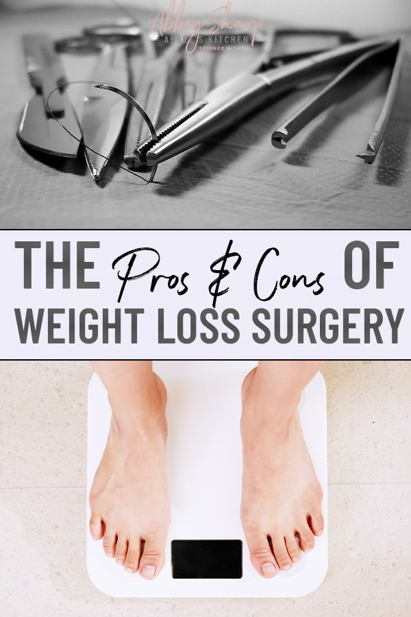pinterest image of surgical tools used for weight loss surgery above another image of a person standing on a scale to measure body weight, with text overlay