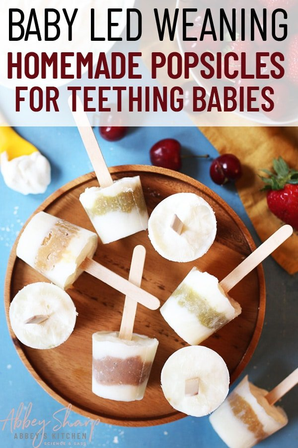 pinterest image of baby popsicles on a wooden plate with text overlay