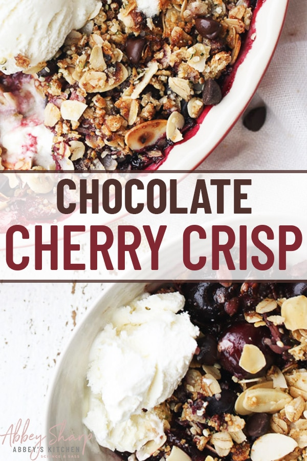 birds eye view image of chocolate cherry crisp topped with ice cream with text overlay