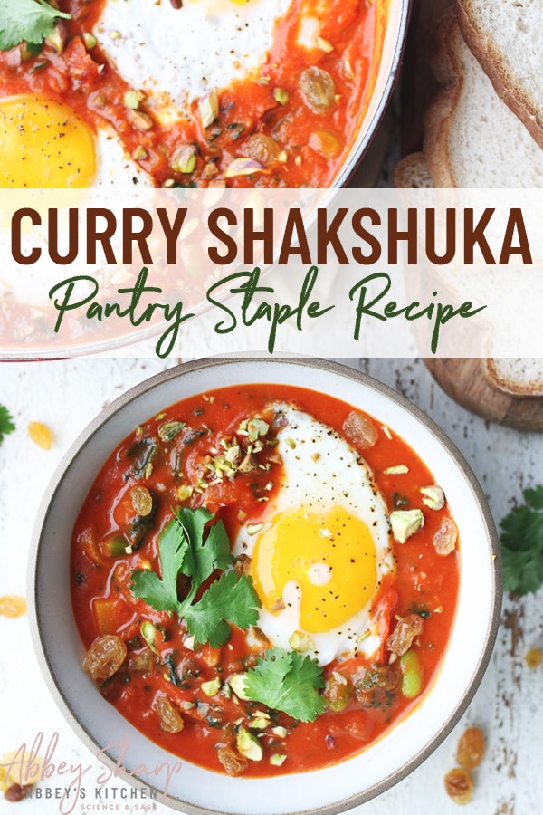 pinterest image of egg shakshuka with curry flavouring in a large white bowl with text overlay
