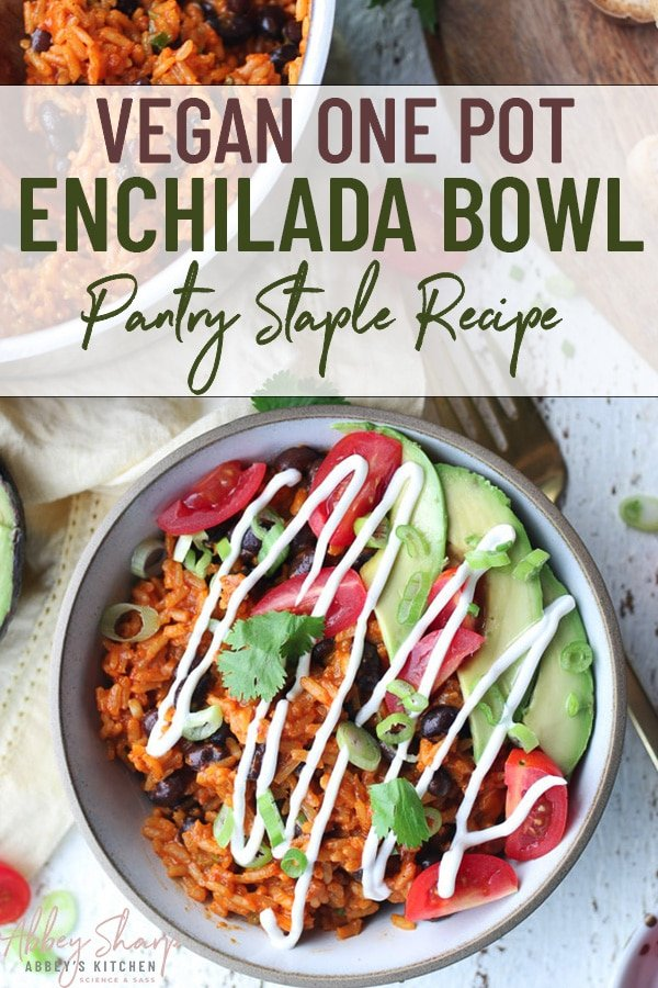 birds eye view image of enchilada bowl topped with avocado, tomato, green onion, cilantro and a drizzle of sour cream