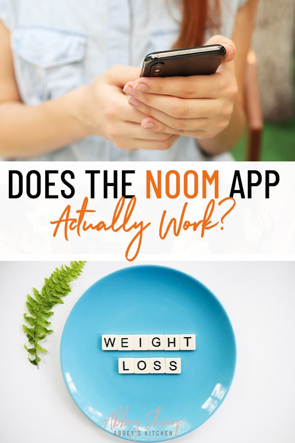 "pinterest image of two separate image, the top image contains a woman wearing a blue shirt using her cell phone and the bottom image contains a blue plate spelling the words ""weight loss"" in white tiles, with text overlay in between the two images"