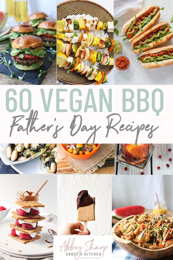 Pinterest image of multiple vegan barbecue themed food photos with text overlay