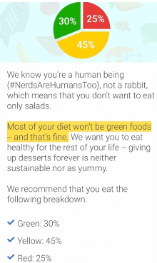 "a screen shot of the noom app showing a pie chart indicating that the majority of food consumed should be ""green"""