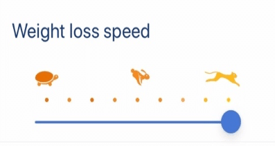 weight loss speed feature on the noom app showing a turtle, rabbit, and cheetah