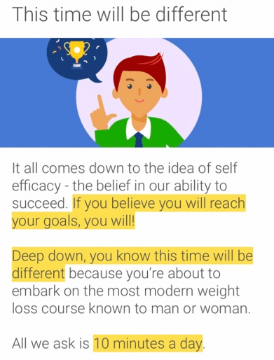 a screen shot of the noom app which talks about the importance self efficacy for goal setting
