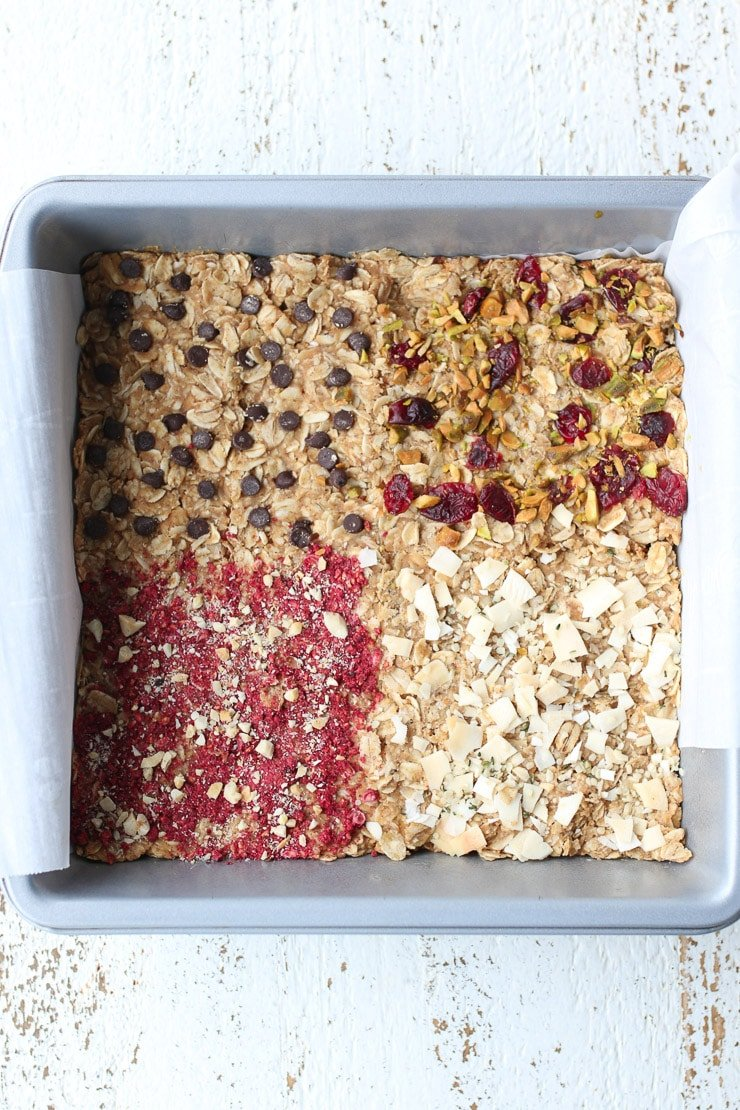 birds eye view of oatmeal bars in a pan