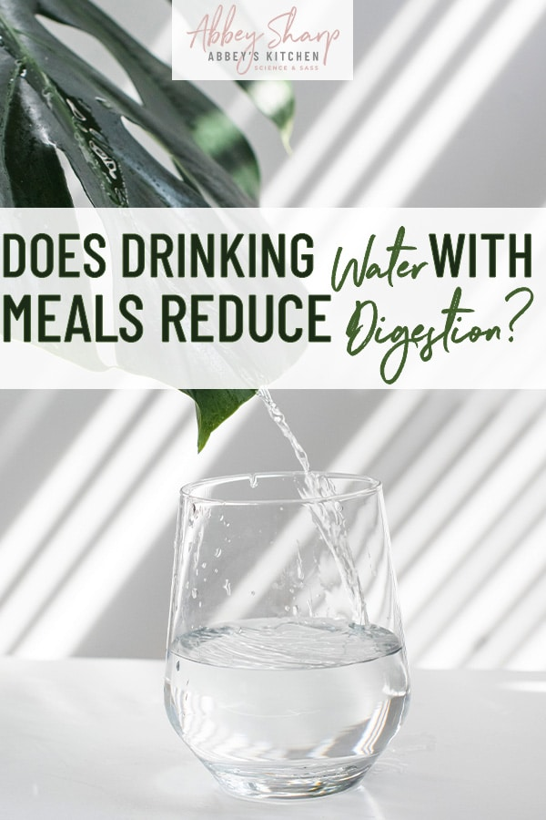 pinterest image of a clear class of water on a white table against a white background with a green leaf in the top left corner with text overlay