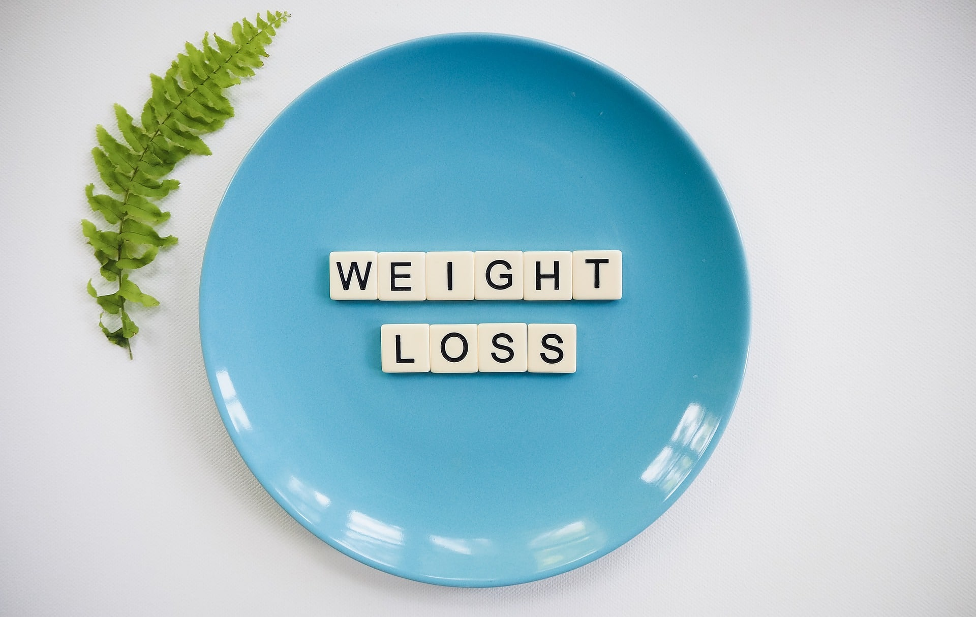 "a blue plate with ""weight loss"" written in white tiles"