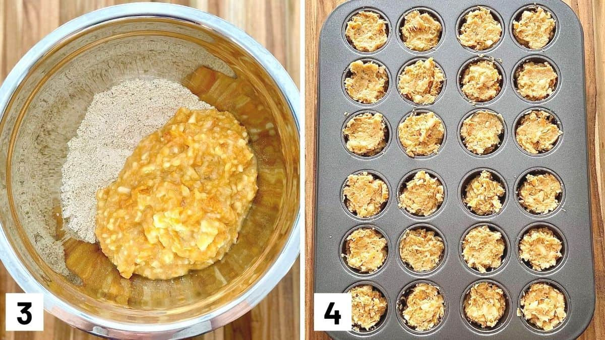 Set of two photos with wet and dry ingredients mixed together and then placed in a muffin tin.