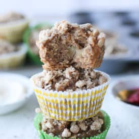 stack of three apple muffins