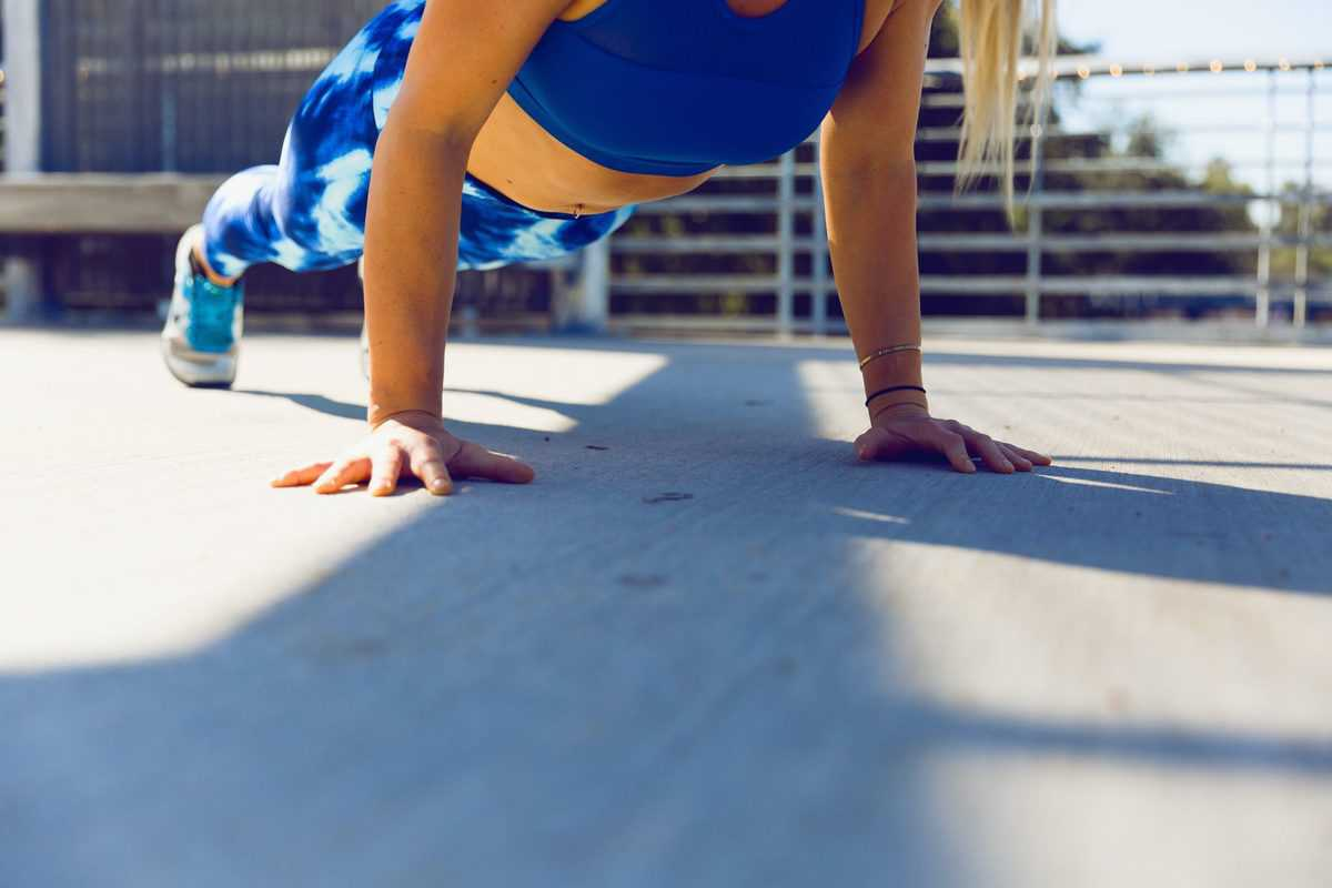 an individual doing a pushup for exercise