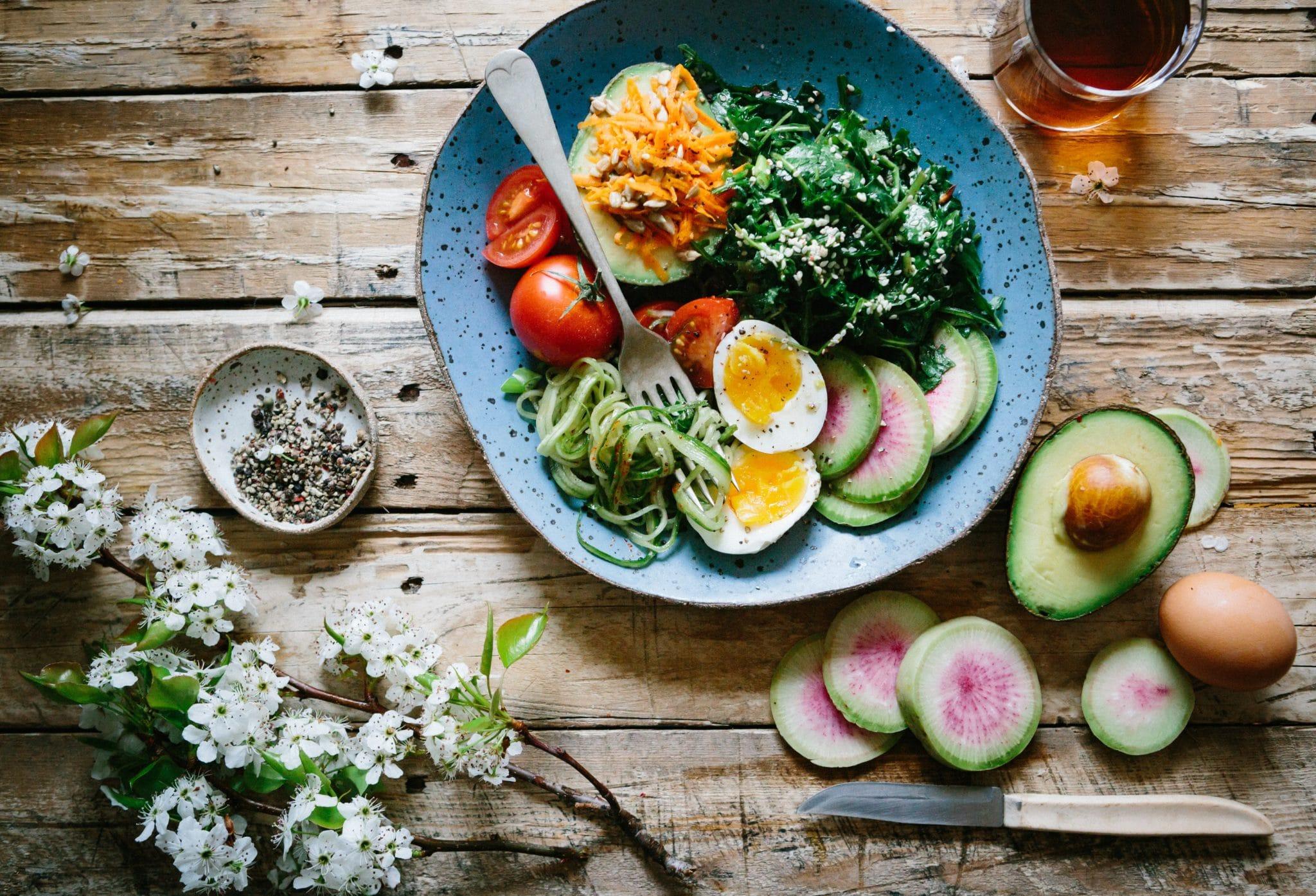 birds eye of a keto bowl with eggs, avocado, and veggies