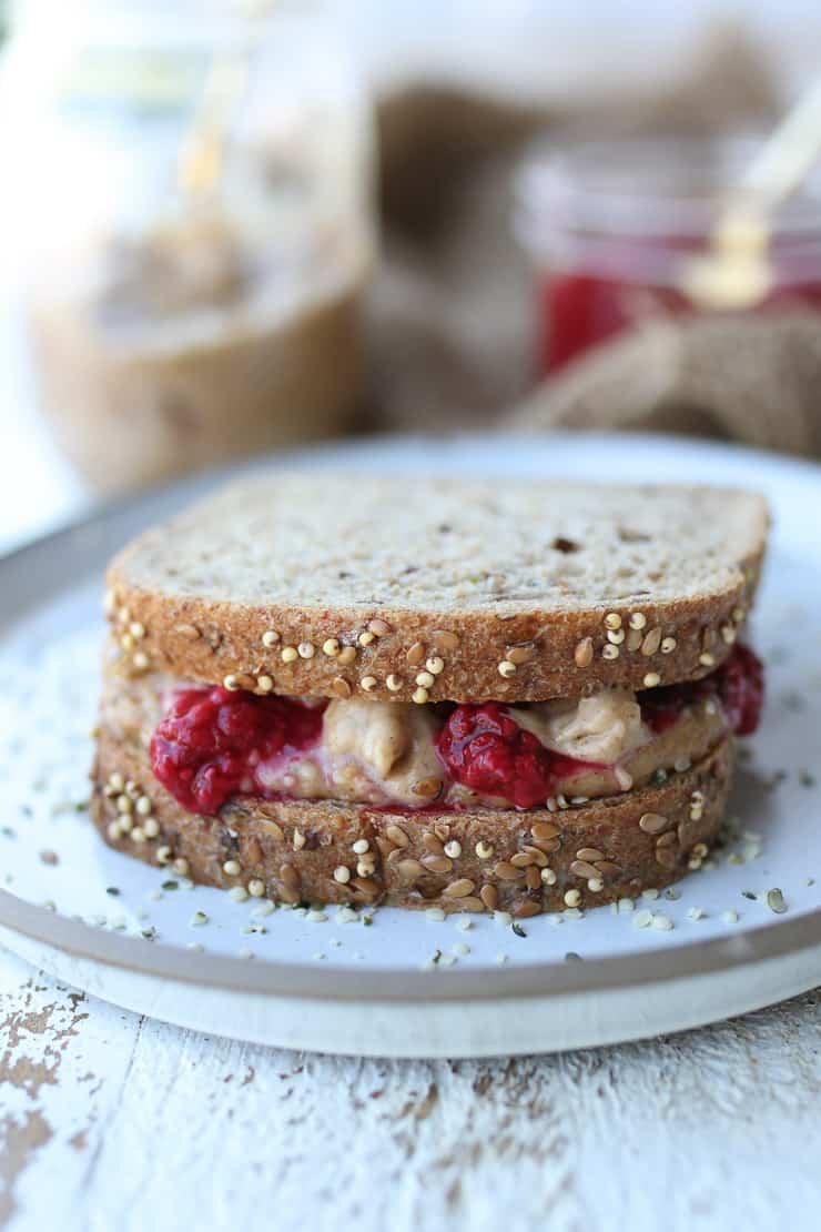 close up of PB & J sandwich