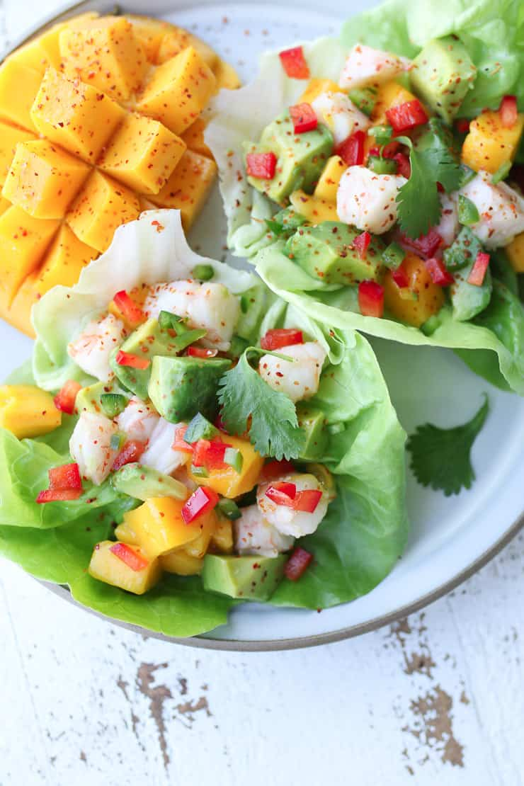 close up of shrimp mango salad