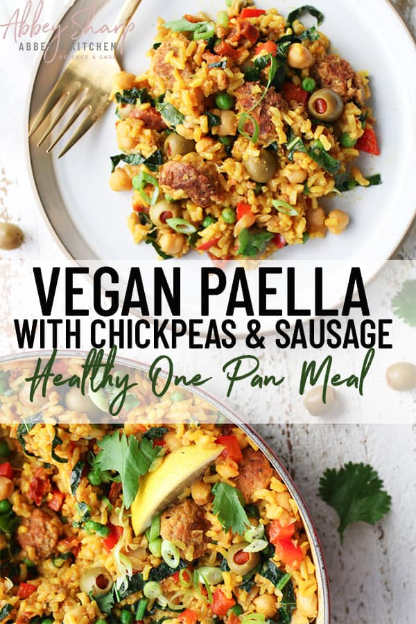 Pinterest image of vegan paella on a white plate