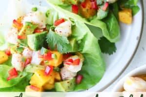 pinterest image of shrimp avocado salad