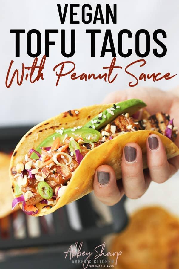 pinterest image of grilled tofu tacos
