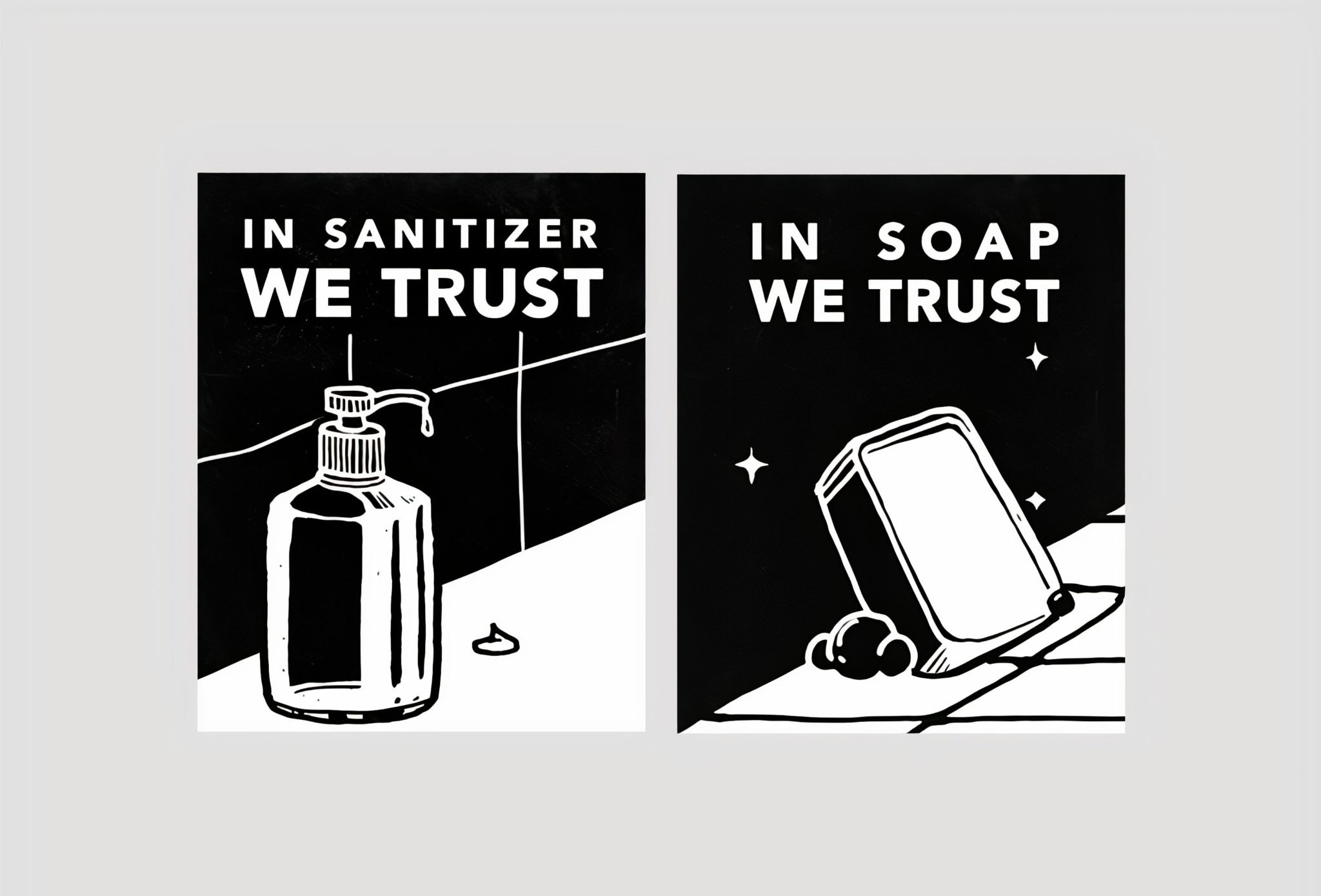black and white illustration of sanitizer and soap
