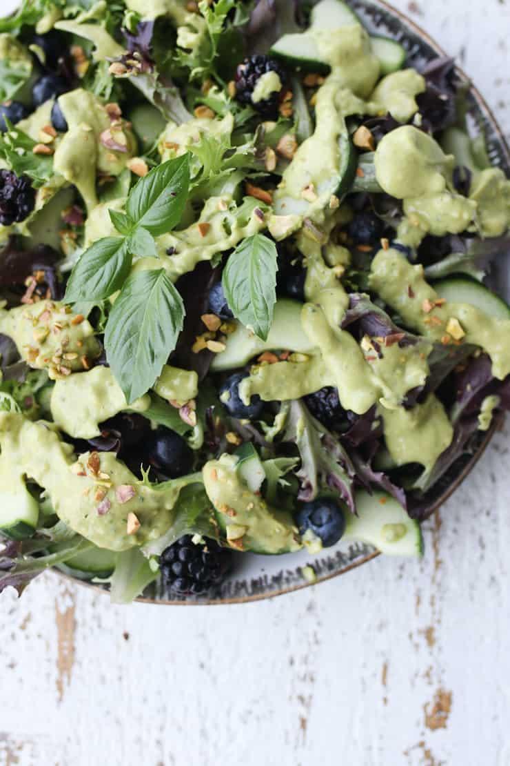 birds eye view of green salad