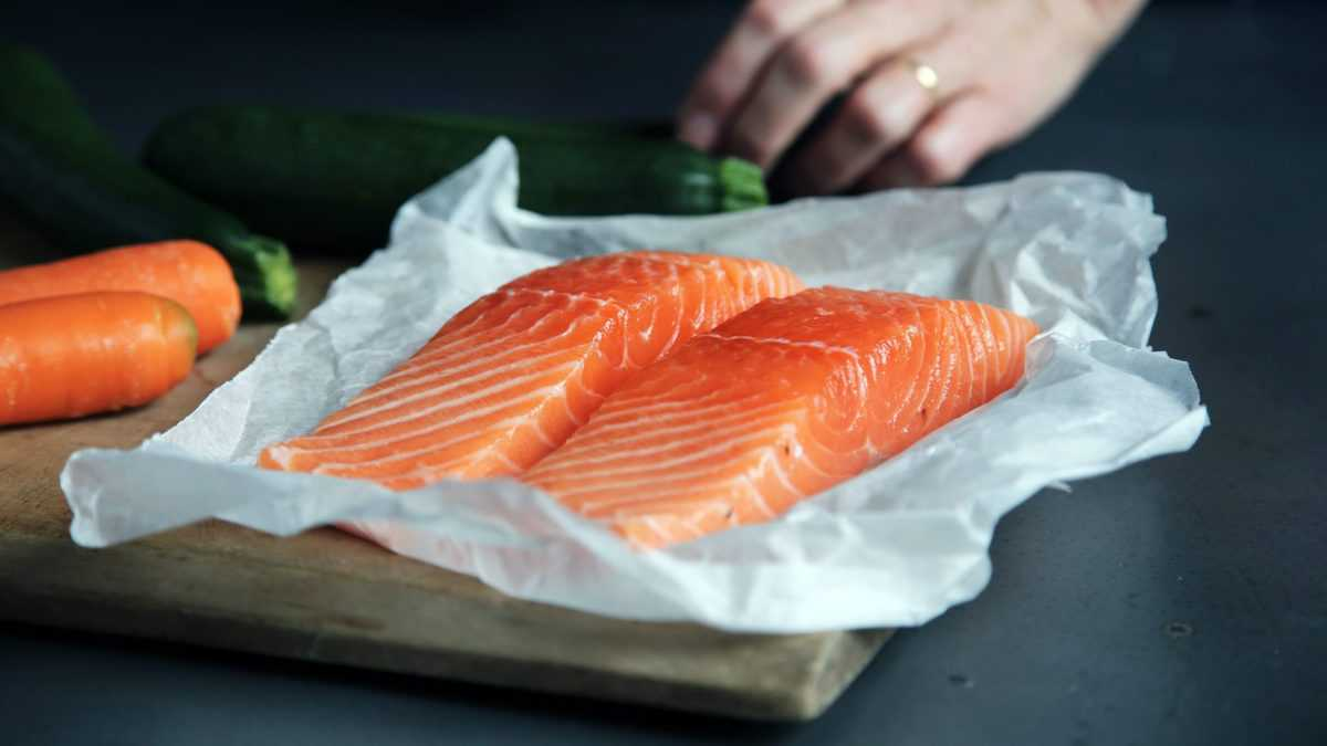two salmon fillets as a source of protein to help regulate blood sugar levels