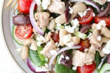 birds eye view of no cook tuna greek salad