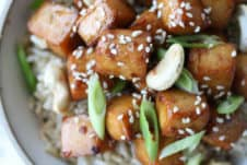birds eye view close up of tofu in a bowl