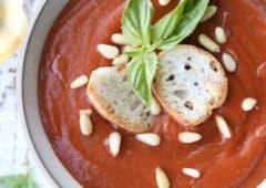 birds eye view of creamy tomato soup