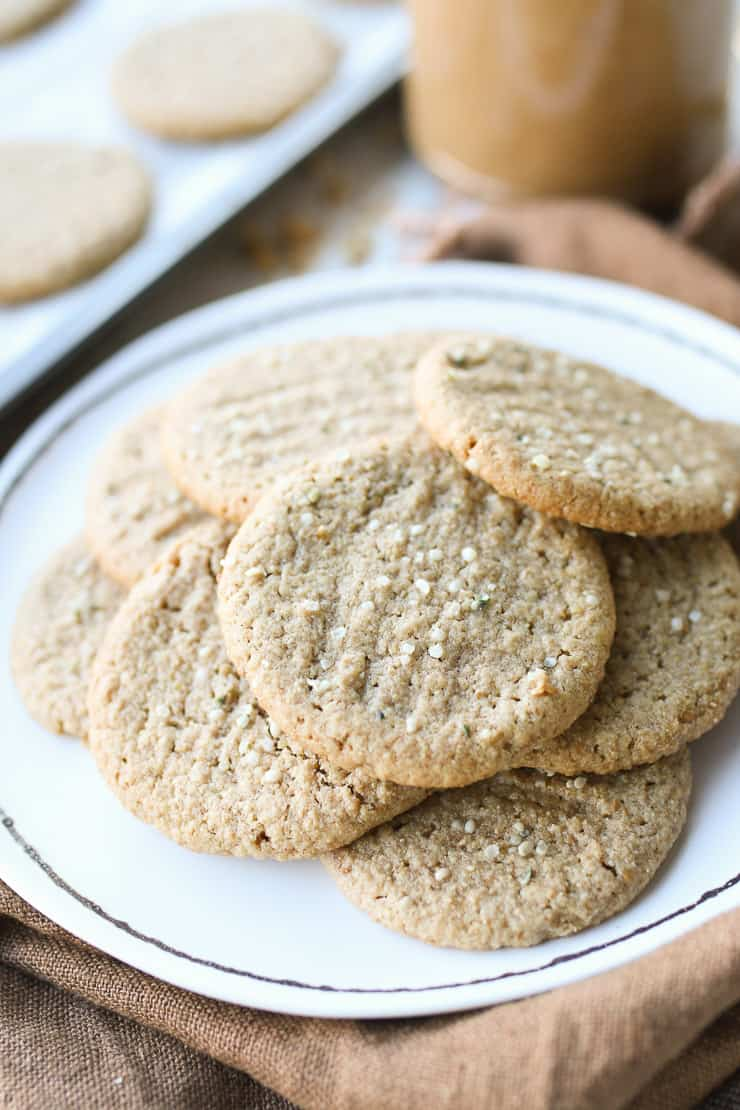 healthy peanut butter cookies on a white plate