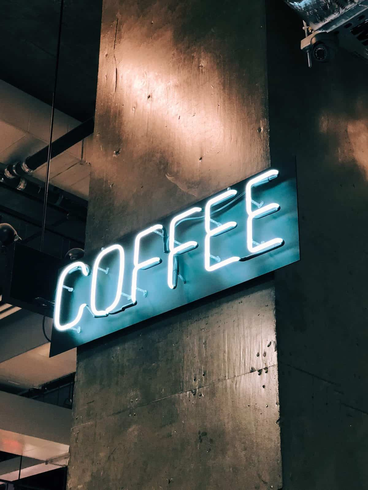 "Neon sign that says ""coffee"""