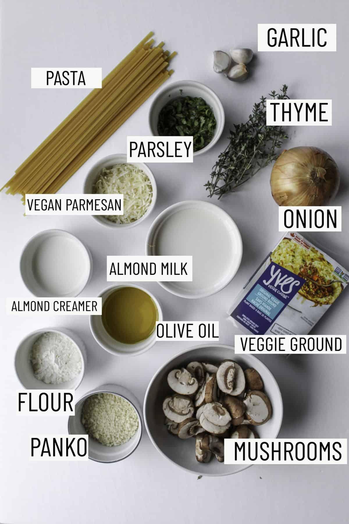 Flatlay photo of ingredients for vegan mushroom pastas: pasta, garlic, thyme, parsley, onion, vegan parmesan, almond milk, vegan milk, almond creamer, olive oil, flour, panko, and mushrooms.