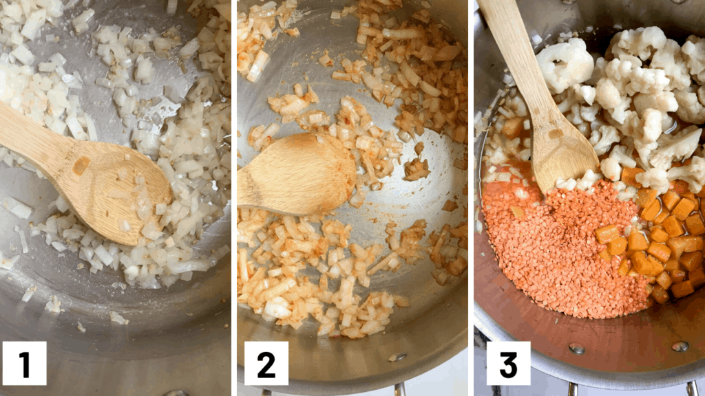 instruction step by step photo of cooking the onion garlic, and ginger before adding in the red curry paste and then the lentils, butternut squash, and cauliflower