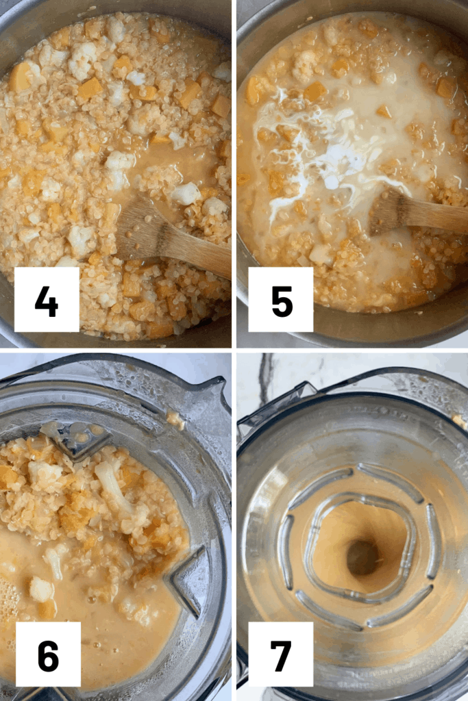 4 instructional photos of adding in broth to simmer, lemon juice and coconut milk, then blending in a blender until smooth.