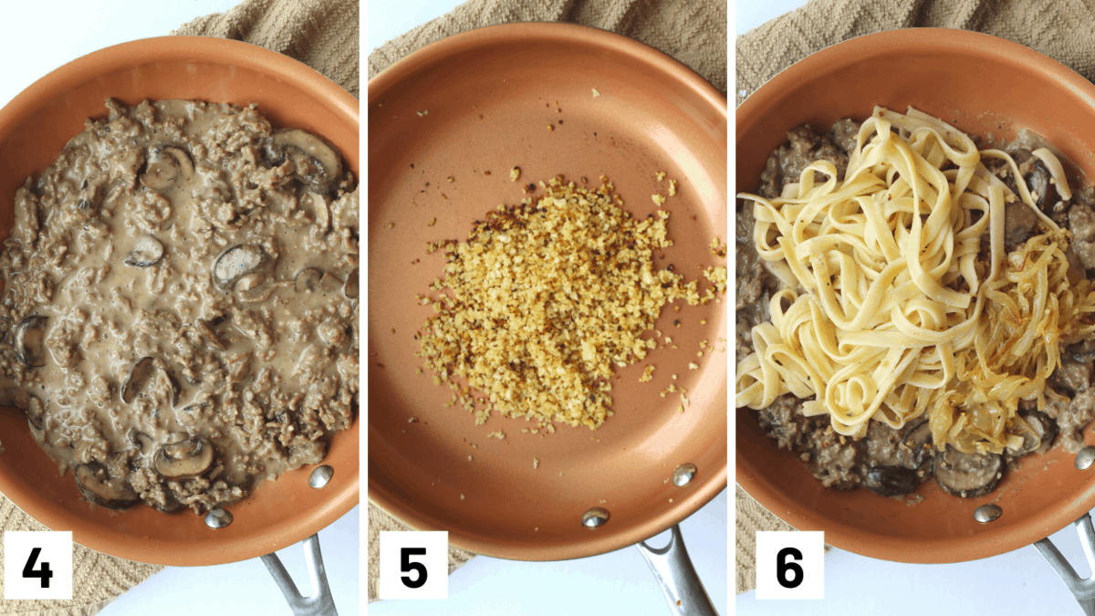 Step by step photos of adding in almond milk and creamer mixed with flour, how to toast panko, and combining the mushroom, onion, and pasta.