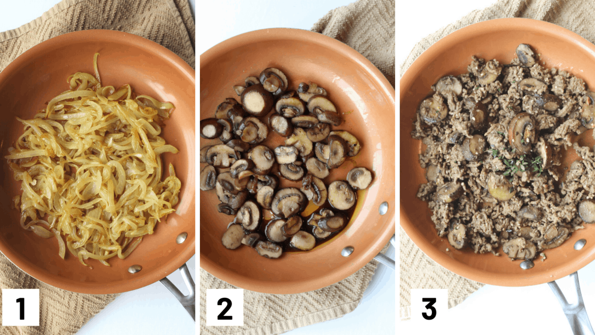 Step by step photo on caramelizing onions, sauting mushrooms, and adding in the vegan meat and herbs.