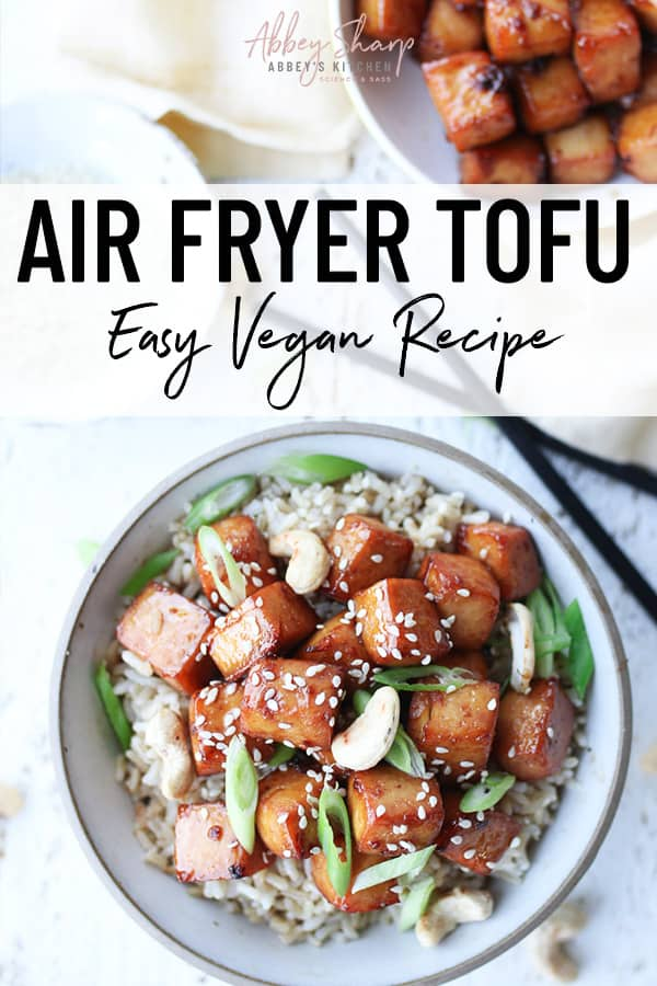 pinterest image of air fryer tofu