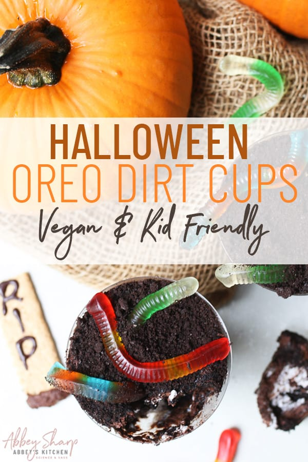 pinterest image of halloween dirt cups