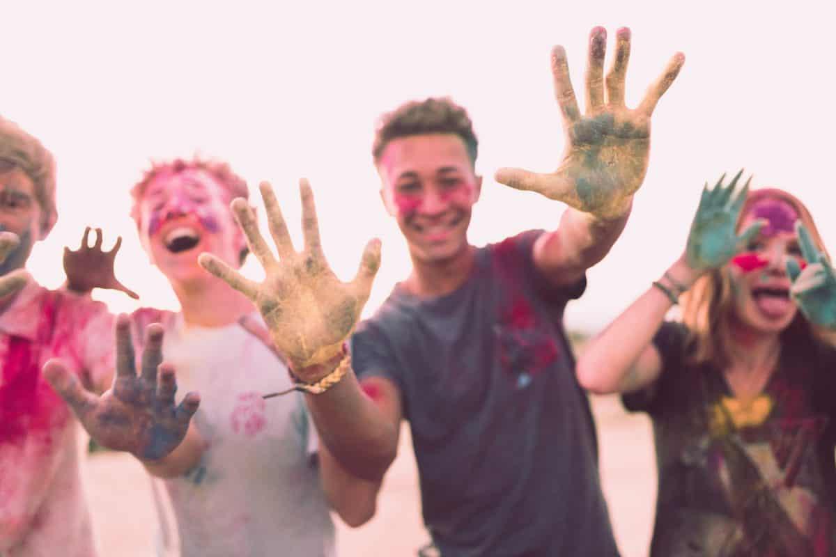 severeal teens having fun together