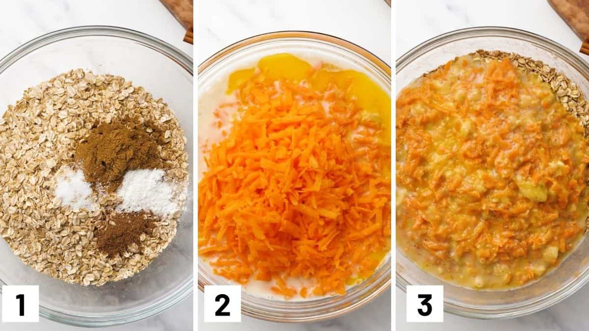 Process images of the first three steps for making the baked oatmeal including how to make the wet and dry mixture.