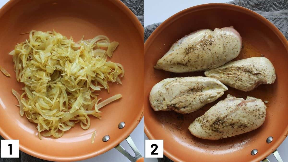 Images of the first two steps to make French onion chicken, including caramelizing onions and browning the chicken breasts.