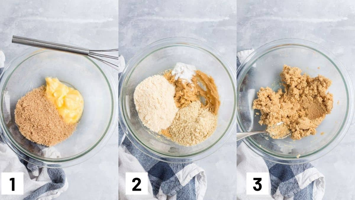 Image of the first three steps to making the batter for the coconut chocolate chip cookies.