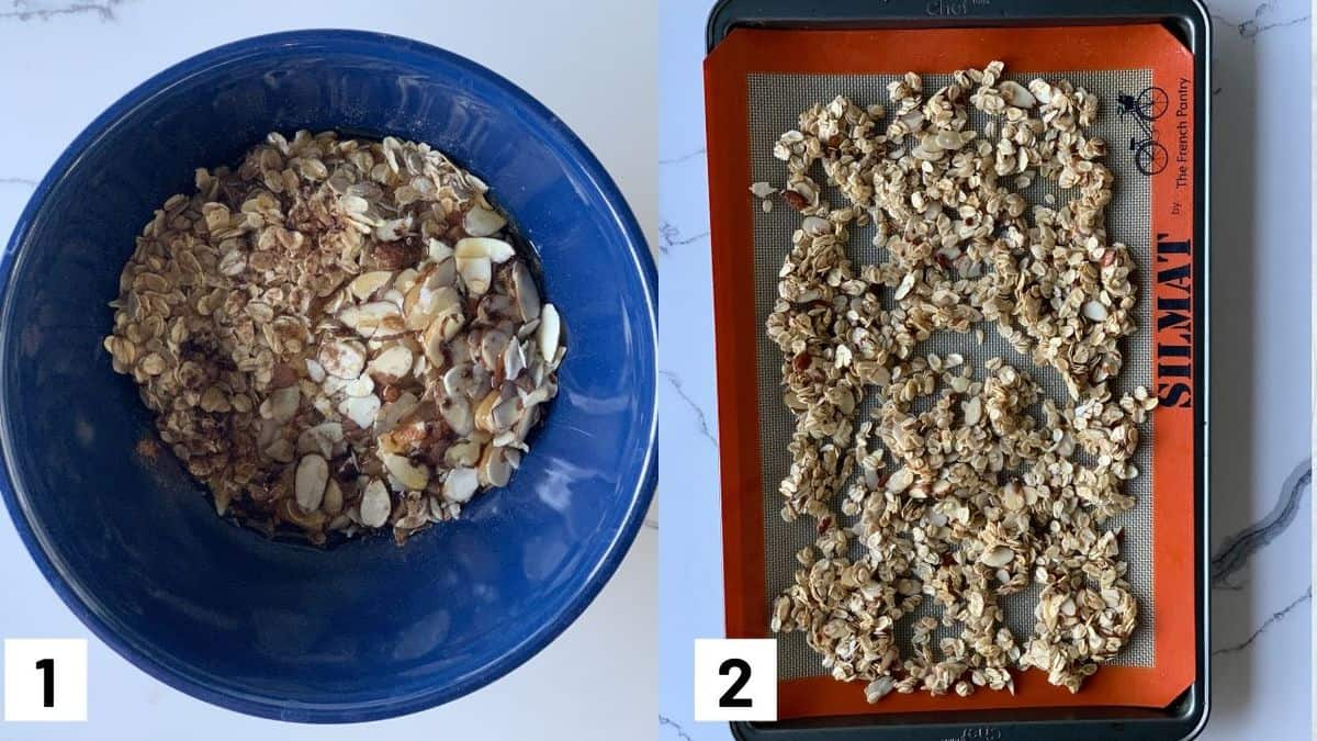 Two images showing how to make granola crumble including adding the ingredients to the mixing bowl, and laying granola out on a baking sheet to bake in the oven.