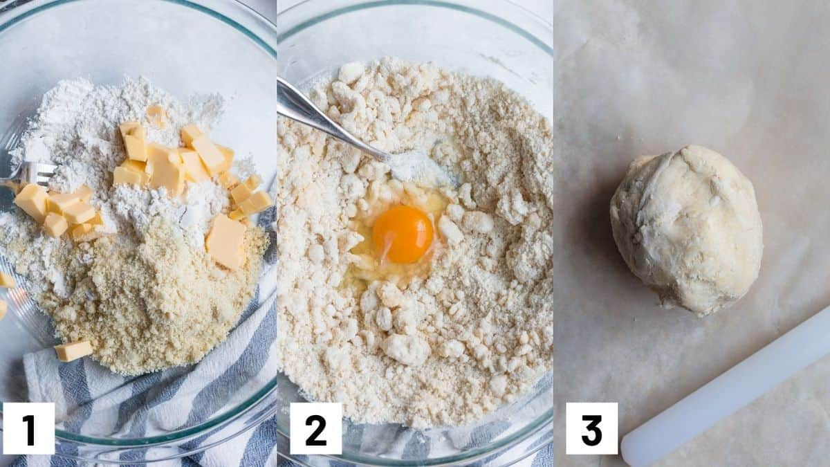Step by step images for how to make the gluten free crust including mixing ingredients together, adding an egg, and working the dough into a ball.