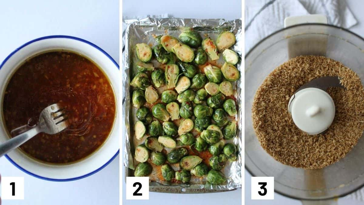 Step by step collage showing how to make brussel sprouts recipe including how to make the sauce and cereal crumble.