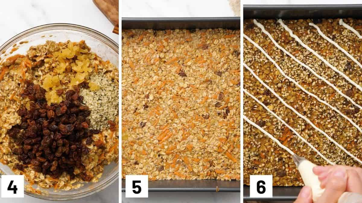 Process images showing the last three steps for making the recipe including adding in dried fruit, pouring into baking dish, and drizzling with frosting.