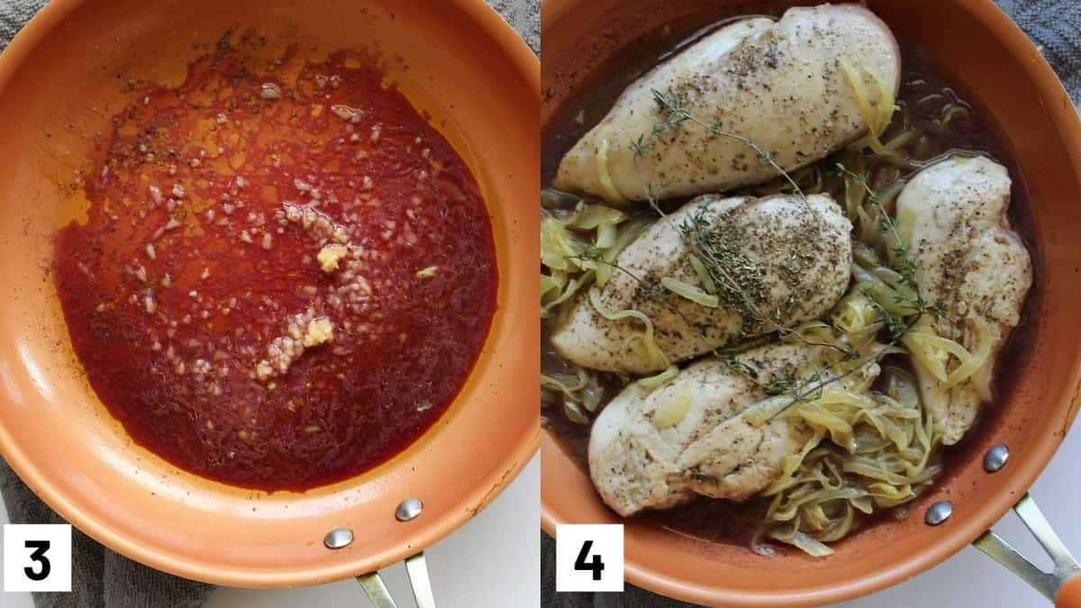 Images of the third and fourth step of the recipe including heating up the red wine with garlic, and combining all ingredients in a pan with chicken breast.
