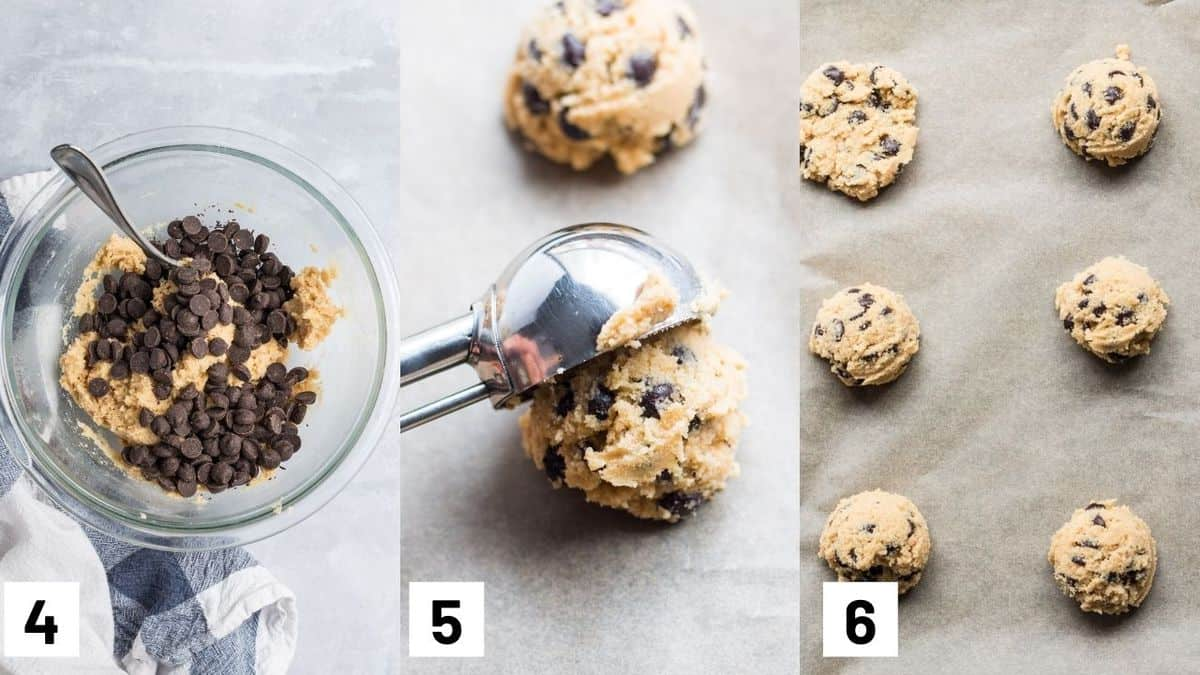 Image of the last three steps of the recipes including adding in the chocolate chips, and scooping batter with ice cream scoop and laying them on parchment paper.